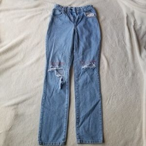 Ragged Priest Highwaisted embroidered torn jeans